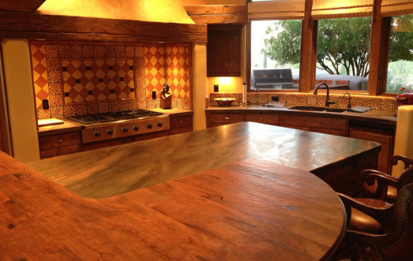 Leather finished quartzite kitchen countertops