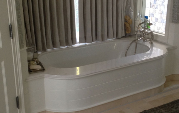 Thassos marble tub deck and vanity
