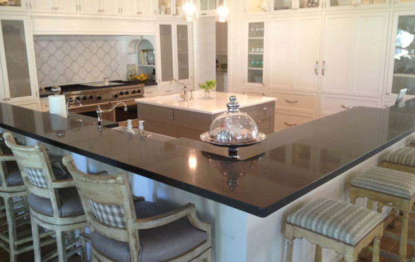 Quartz countertop and Pyrolave island