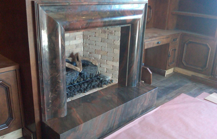 Custom quartzite fireplace