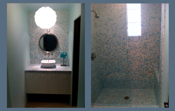 Gradient glass mosaic shower