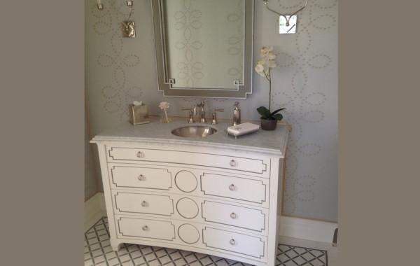 Honed marble vanity