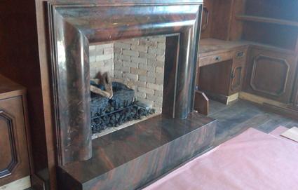 Custom quartzite fireplace