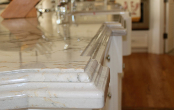 Quartzite countertops with custom edge